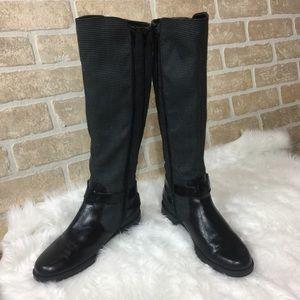 🆕 Aerosoles Tall Black Leather Herringbone Boots